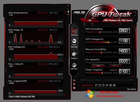 Zrzut ekranu ASUS GPU Tweak na Windows 7