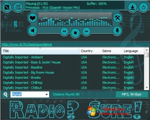 Zrzut ekranu RadioSure na Windows 7