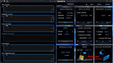 Zrzut ekranu GIGABYTE OC Guru na Windows 7