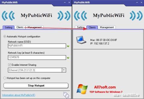 Zrzut ekranu MyPublicWiFi na Windows 7
