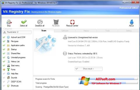 Zrzut ekranu Vit Registry Fix na Windows 7