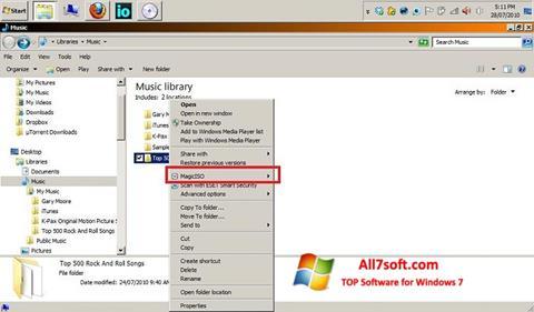 Zrzut ekranu MagicISO na Windows 7