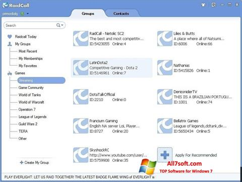 Zrzut ekranu RaidCall na Windows 7