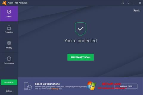 Zrzut ekranu Avast Free Antivirus na Windows 7