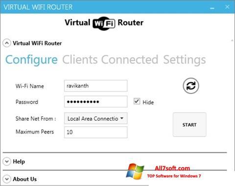 Zrzut ekranu Virtual WiFi Router na Windows 7
