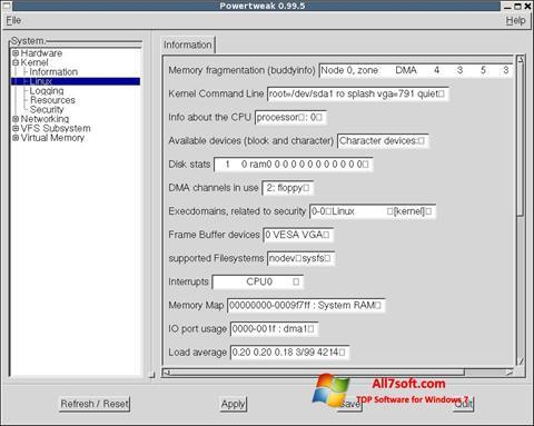 Zrzut ekranu PowerTweak na Windows 7