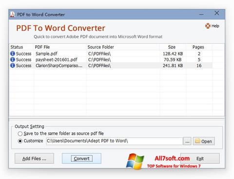 Zrzut ekranu PDF to Word Converter na Windows 7