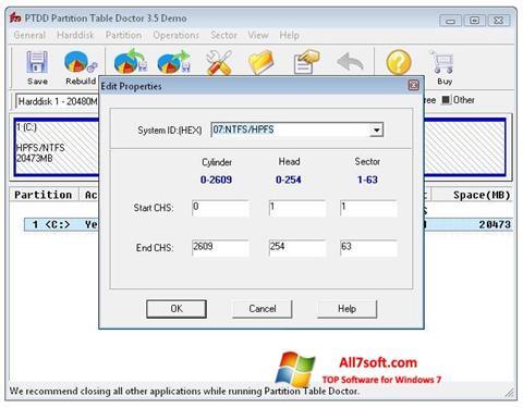 Zrzut ekranu Partition Table Doctor na Windows 7