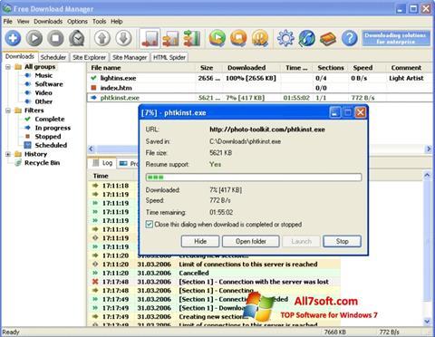 Zrzut ekranu Download Master na Windows 7