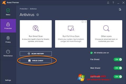 Zrzut ekranu Avast na Windows 7