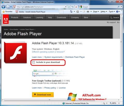 Zrzut ekranu Adobe Flash Player na Windows 7
