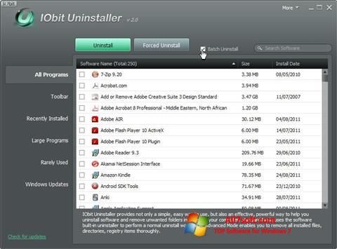 Zrzut ekranu IObit Uninstaller na Windows 7
