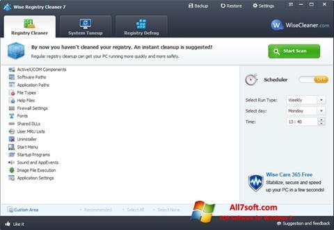 Zrzut ekranu Wise Registry Cleaner na Windows 7