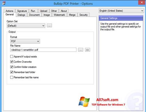 Zrzut ekranu BullZip PDF Printer na Windows 7