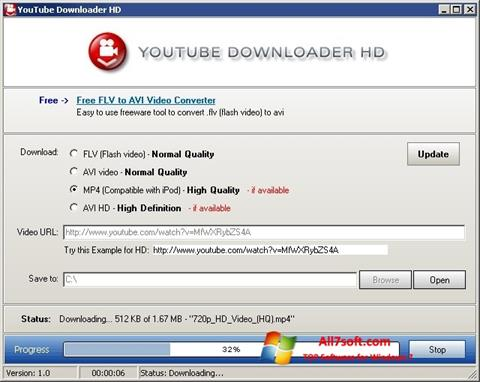 Zrzut ekranu Youtube Downloader HD na Windows 7