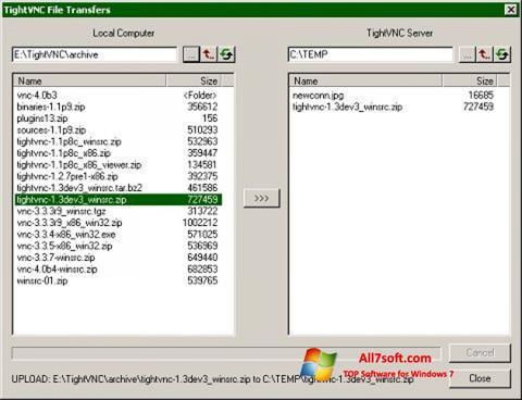 Zrzut ekranu TightVNC na Windows 7