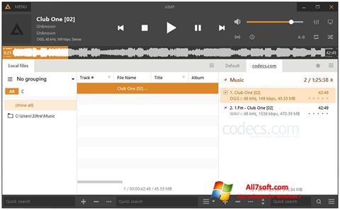 Zrzut ekranu AIMP na Windows 7