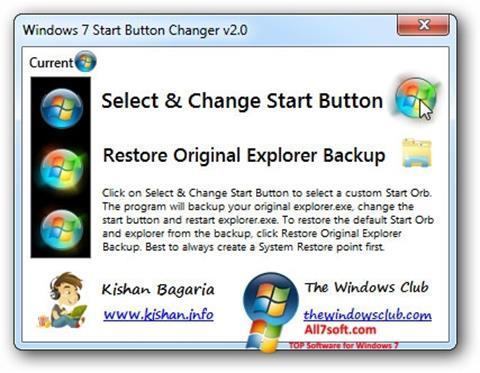 Zrzut ekranu Windows 7 Start Button Changer na Windows 7